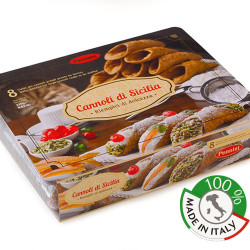 Big Sicilian Waffle of  Sicilian cannolo with chocolate icing in pack of 8 pieces