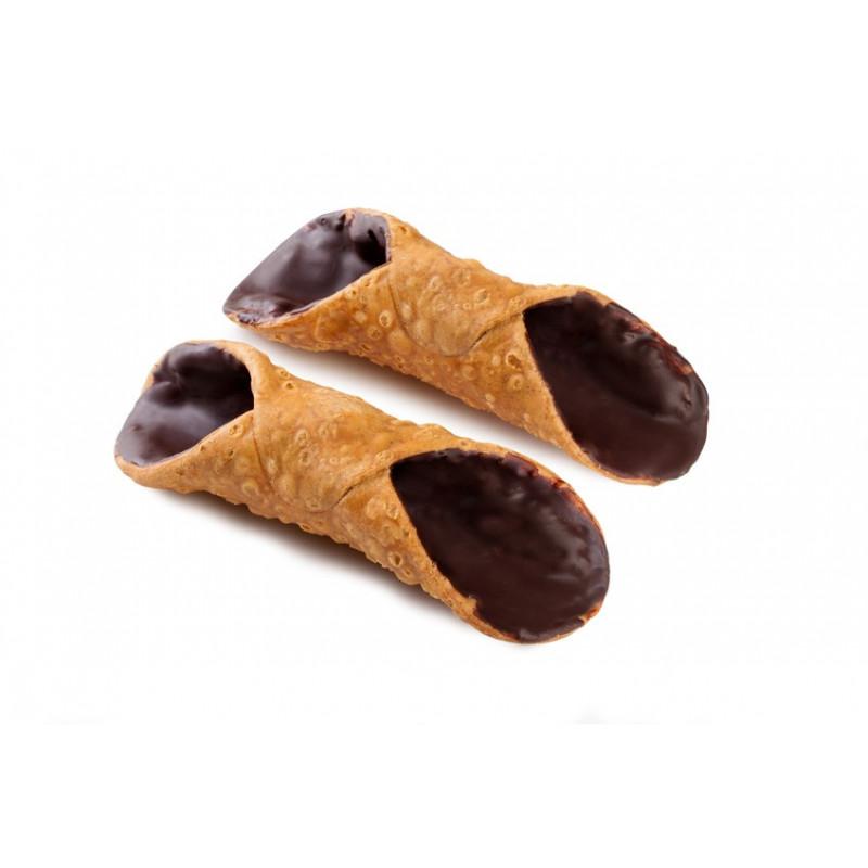 Cialde Cannoli grandi con glassa al cioccolato in vaschetta da 8pz.