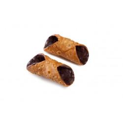 24 Cialde Cannoli piccoli con glassa al cioccolato in vaschetta -...