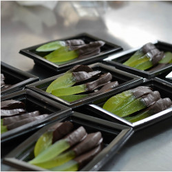 """Candied Sicilian Lemon covered in chocolate, """"Scorzette Candite"""" pack of 100g"""
