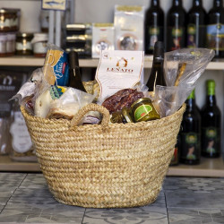 Sicilian Straw Bag with Typical Gourmet Italian Food and Beverage