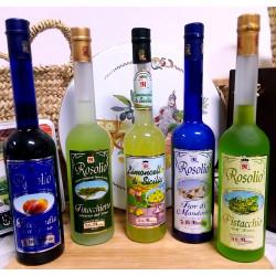 Vendita online Confezione Regalo di liquori Rosoli Siciliani e Limoncello in eleganti bottiglie