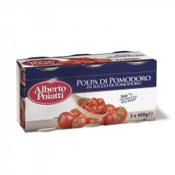 3x400g (14.10oz) Chopped tomatoes in tomato juice Alberto Poiatti