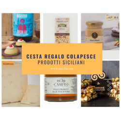 Traditional Sicilian straw bag Basket with Gourmet Food named Colapesce