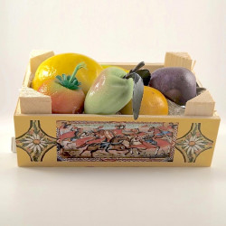 Martorana Fruit on Wooden box with typical decorations - Typical Gourmet Sicilian Food