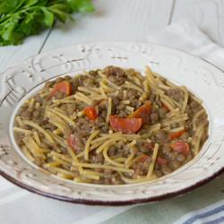 Pasta con Lenticchie, Suino nero dei Nebrodi e pomodorini secchi