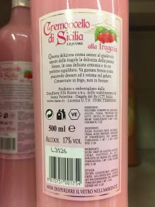 Vendita di Cremoncello alla Fragola, Liquore di Crema di Fragole di Sicilia. Prodotto Siciliano artigianale.