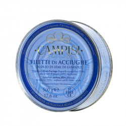 Fillets of anchovies in oil in tin 500gr