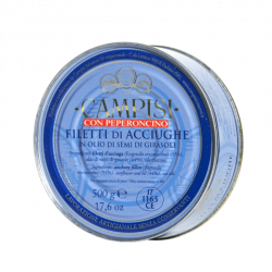 Fillets of anchovies EXTRA with chili pepper in oil in tin 500gr
