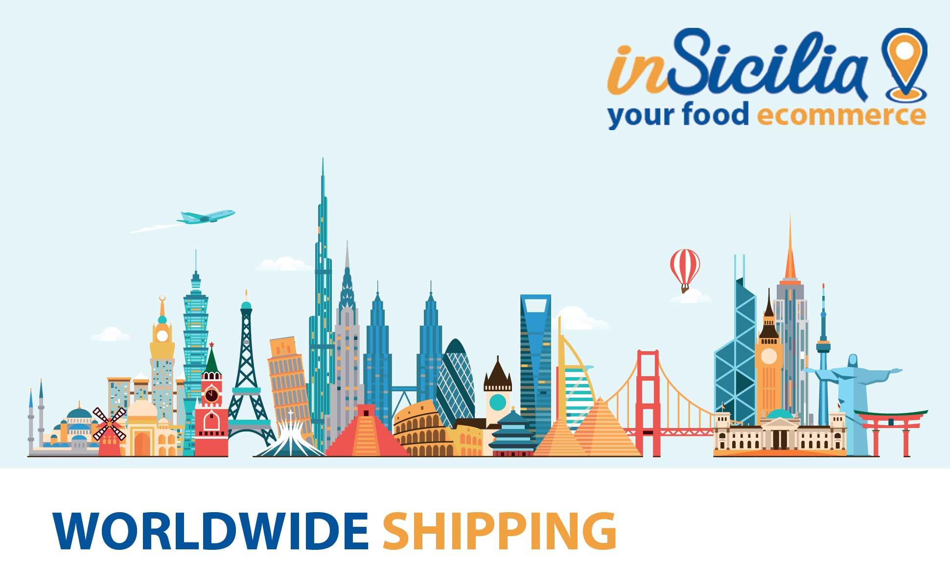 insicilia.com spedisce cibo tipico siciliano in tutto il mondo. La spedizione è gratuita per ordini di almeno 39 euro. Prezzi top