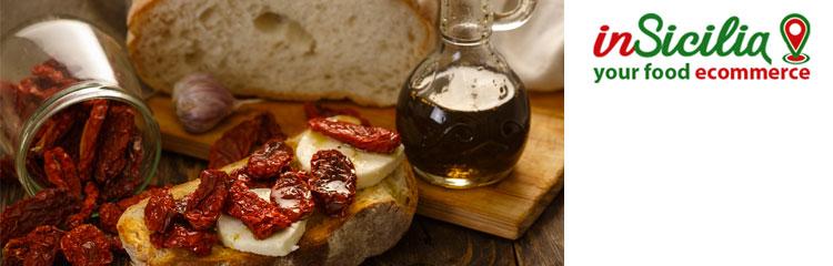 Vendita on line Cibo Tradizionale Siciliano - su insicilia.com vendita di cibo tradizionale siciliano ingrosso e dettaglio pomodoro, melanzana, carciofo, capperi, peperone, aglio sott'olio e sotto aceti