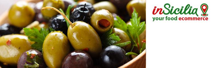 Vendita on line Cibo Tradizionale Siciliano su insicilia.com vendita di cibo tradizionale siciliano ingrosso e dettaglio olive verdi, olive nere, olive farcite